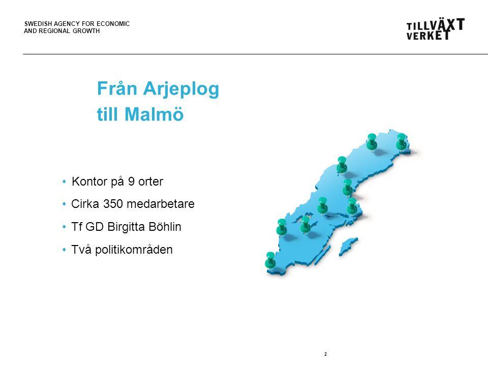 SWEDISH AGENCY FOR ECONOMIC AND REGIONAL GROWTH Från Arjeplog till Malmö Kontor på 9 orter Cirka 350 medarbetare Tf GD Birgitta Böhlin Två politikområ