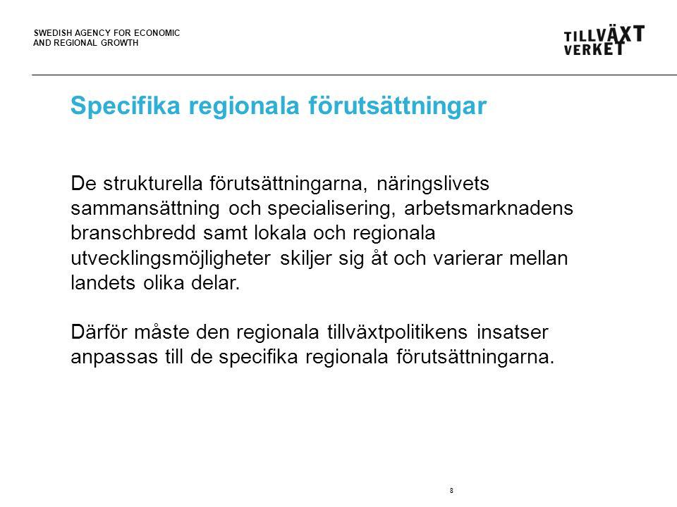 SWEDISH AGENCY FOR ECONOMIC AND REGIONAL GROWTH Den regionala tillväxtpolitiken 9 Utvecklingskraft i alla delar av landet med stärkt lokal och regional konkurrenskraft Förordning Förordningen (2007:713) om regionalt tillväxtarbete Program och strategier Europa 2020 – Kommunala översiktsplaner Medel Utgiftsområde 19 – ca 3,5 miljarder Tvärsektoriell samverkan och operativa insatser Utifrån regionala förutsättningar