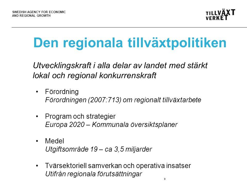 SWEDISH AGENCY FOR ECONOMIC AND REGIONAL GROWTH 10 Regional hänsyn och tvärsektoriell styrning Utvecklingskraft i alla delar av landet med stärkt lokal och regional konkurrenskraft