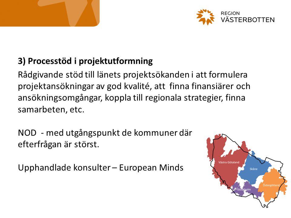 3) Processtöd i projektutformning Rådgivande stöd till länets projektsökanden i att formulera projektansökningar av god kvalité, att finna finansiärer
