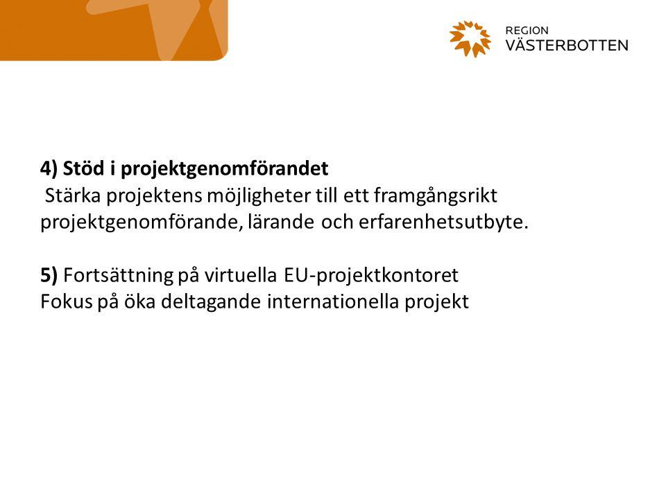 4) Stöd i projektgenomförandet Stärka projektens möjligheter till ett framgångsrikt projektgenomförande, lärande och erfarenhetsutbyte. 5) Fortsättnin