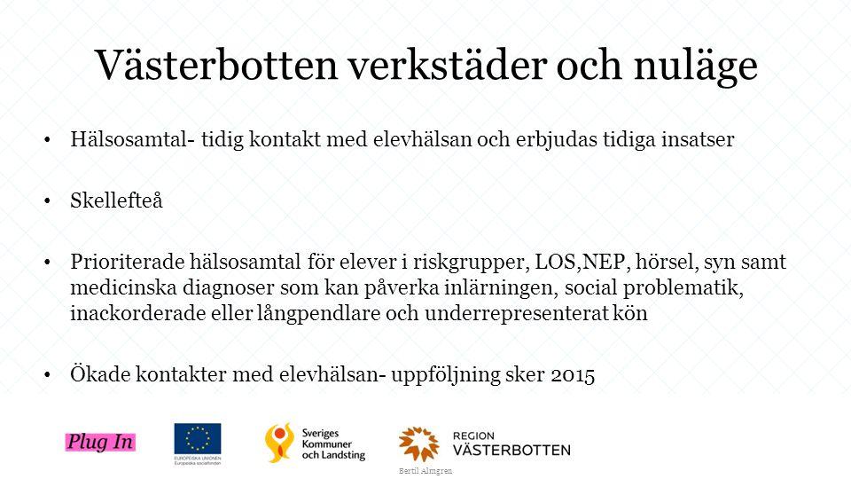 Västerbotten verkstäder och nuläge Hälsosamtal- tidig kontakt med elevhälsan och erbjudas tidiga insatser Skellefteå Prioriterade hälsosamtal för elev