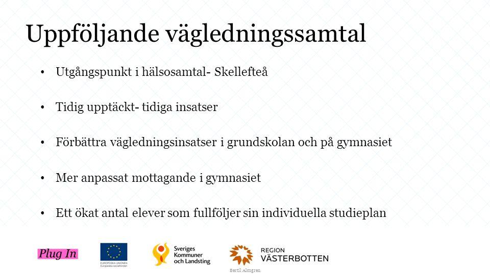 Uppföljande vägledningssamtal Utgångspunkt i hälsosamtal- Skellefteå Tidig upptäckt- tidiga insatser Förbättra vägledningsinsatser i grundskolan och p
