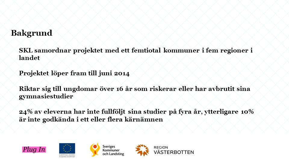 SKL samordnar projektet med ett femtiotal kommuner i fem regioner i landet Projektet löper fram till juni 2014 Riktar sig till ungdomar över 16 år som