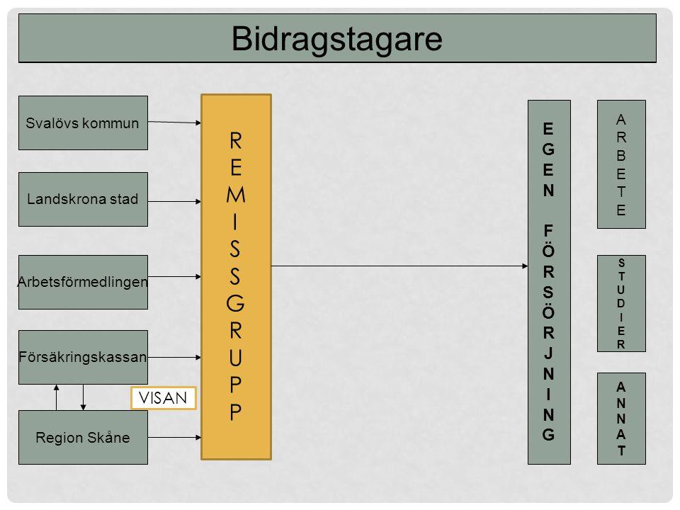 Svalövs kommun Landskrona stad Arbetsförmedlingen Försäkringskassan Region Skåne EGEN FÖRSÖRJNINGEGEN FÖRSÖRJNING ARBETEARBETE STUDIERSTUDIER ANNATANNAT Finansiellt Samordningsförbund Bidragstagare REMISSGRUPPREMISSGRUPP VISAN