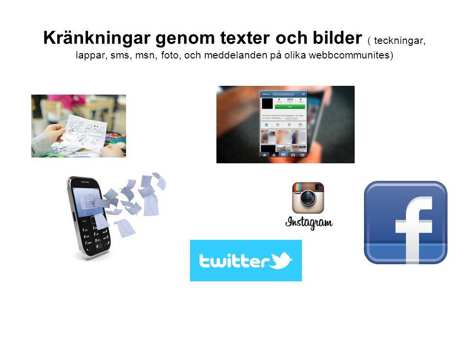 Kränkningar genom texter och bilder ( teckningar, lappar, sms, msn, foto, och meddelanden på olika webbcommunites)