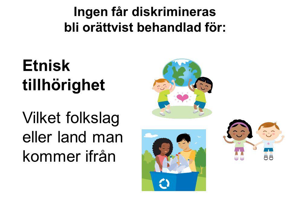 Ingen får diskrimineras bli orättvist behandlad för: Etnisk tillhörighet Vilket folkslag eller land man kommer ifrån