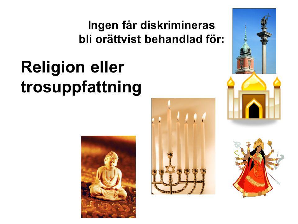 Ingen får diskrimineras bli orättvist behandlad för: Religion eller trosuppfattning