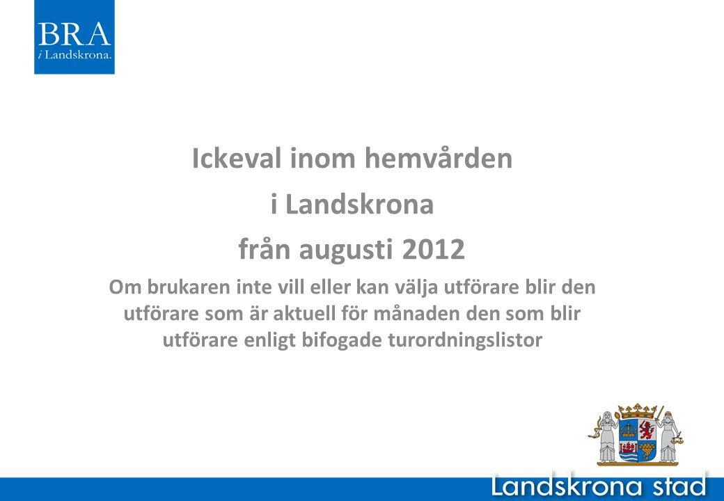 Ickeval inom hemvården i Landskrona från augusti 2012 Om brukaren inte vill eller kan välja utförare blir den utförare som är aktuell för månaden den som blir utförare enligt bifogade turordningslistor