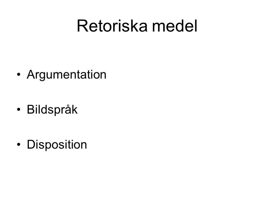 Retoriska medel Argumentation Bildspråk Disposition