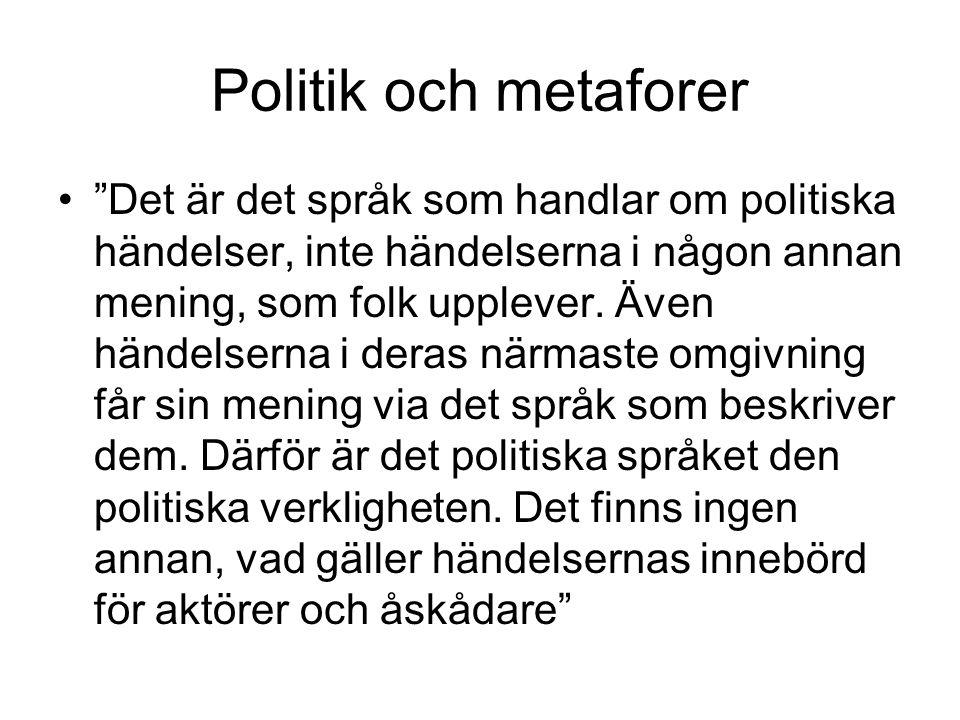 Politik och metaforer Det är det språk som handlar om politiska händelser, inte händelserna i någon annan mening, som folk upplever.