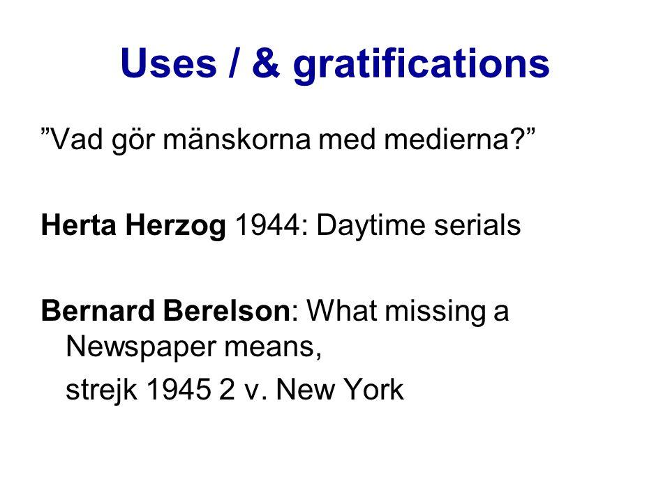 Funktionsmodell Harold Lasswell & Charles Wright: Massmediernas funktioner: -Observation (nyheter) -Samordning av intryck (kommenterande j.) -Traditioner, uppfostran (avvikelser) -Underhållning