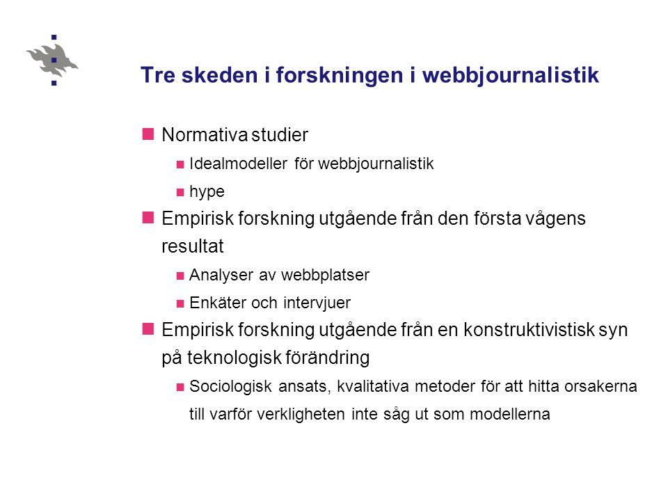 Tre skeden i forskningen i webbjournalistik Normativa studier Idealmodeller för webbjournalistik hype Empirisk forskning utgående från den första vågens resultat Analyser av webbplatser Enkäter och intervjuer Empirisk forskning utgående från en konstruktivistisk syn på teknologisk förändring Sociologisk ansats, kvalitativa metoder för att hitta orsakerna till varför verkligheten inte såg ut som modellerna