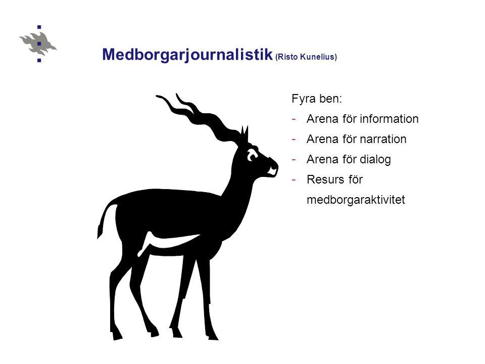 Medborgarjournalistik (Risto Kunelius) Fyra ben: - Arena för information - Arena för narration - Arena för dialog - Resurs för medborgaraktivitet