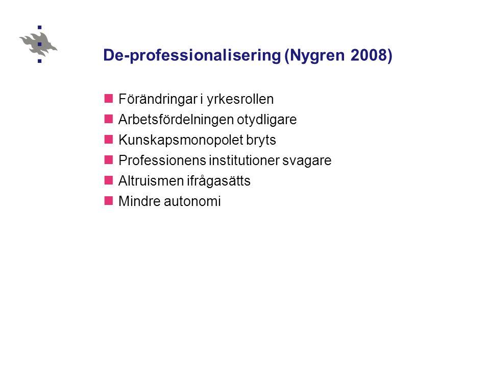 De-professionalisering (Nygren 2008) Förändringar i yrkesrollen Arbetsfördelningen otydligare Kunskapsmonopolet bryts Professionens institutioner svagare Altruismen ifrågasätts Mindre autonomi
