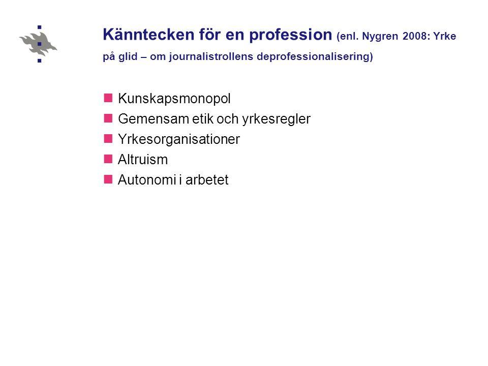 Känntecken för en profession (enl.