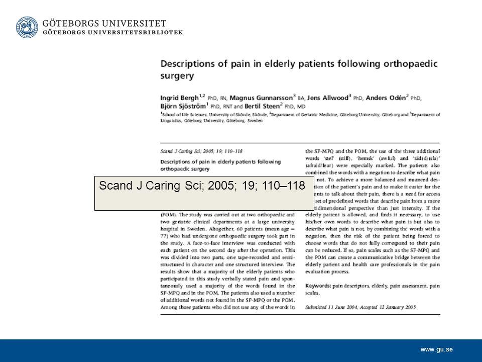 www.gu.se pain descriptors, elderly, pain assessment, pain scales