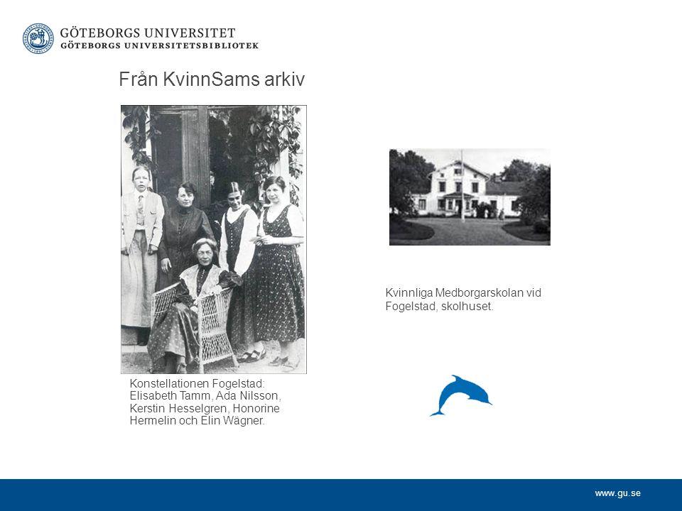 www.gu.se Från KvinnSams arkiv Konstellationen Fogelstad: Elisabeth Tamm, Ada Nilsson, Kerstin Hesselgren, Honorine Hermelin och Elin Wägner. Kvinnlig