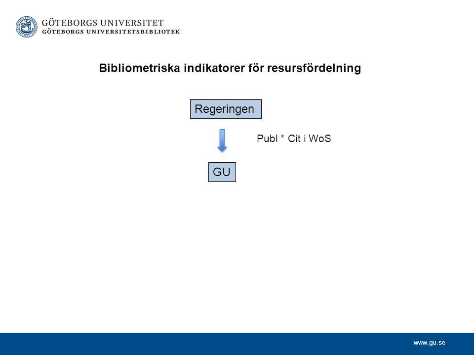 www.gu.se Publ * Cit i WoS Regeringen GU Bibliometriska indikatorer för resursfördelning