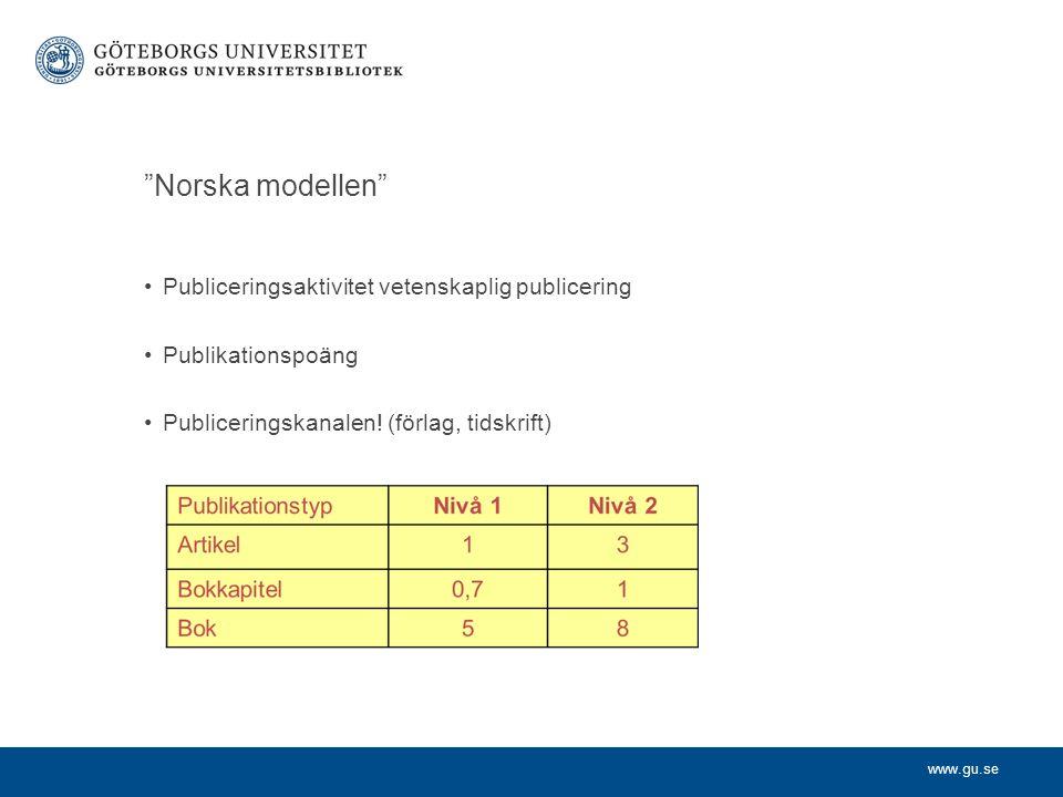 www.gu.se Norska modellen Publiceringsaktivitet vetenskaplig publicering Publikationspoäng Publiceringskanalen.