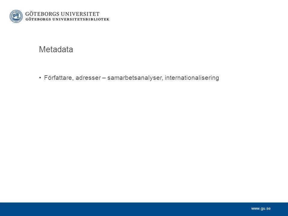 www.gu.se Metadata Författare, adresser – samarbetsanalyser, internationalisering Tidskrift/förlag - publiceringsmönster Titel/abstract/keywords – ämnesanalyser Referenser – citeringsanalyser År