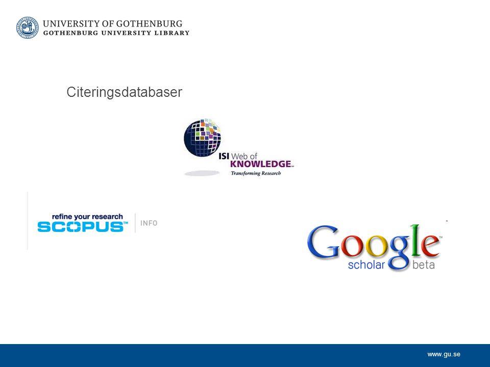 www.gu.se Citeringsdatabaser