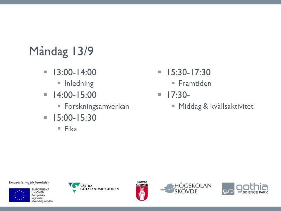  15:30-17:30  Framtiden  17:30-  Middag & kvällsaktivitet  13:00-14:00  Inledning  14:00-15:00  Forskningsamverkan  15:00-15:30  Fika Måndag 13/9