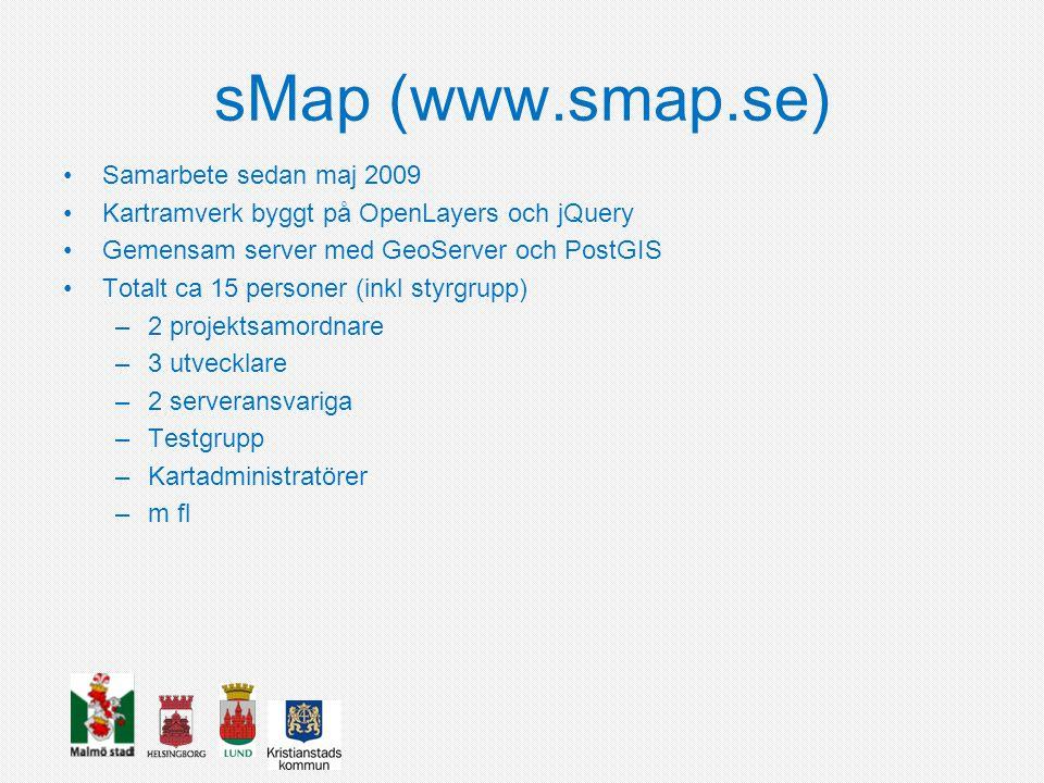 sMap (www.smap.se) Samarbete sedan maj 2009 Kartramverk byggt på OpenLayers och jQuery Gemensam server med GeoServer och PostGIS Totalt ca 15 personer (inkl styrgrupp) –2 projektsamordnare –3 utvecklare –2 serveransvariga –Testgrupp –Kartadministratörer –m fl