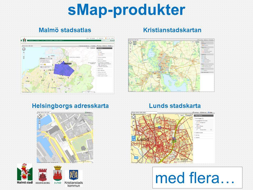 sMap-produkter Malmö stadsatlasKristianstadskartan Helsingborgs adresskartaLunds stadskarta med flera…