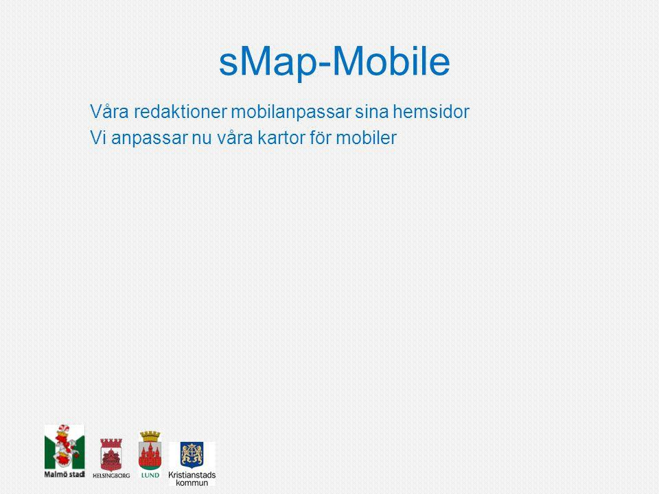 sMap-Mobile Webbapp Smartphones (SP), responsiv design SP,IPAD,Desktop Användargränssnitt Leaflet Bootstrap Github
