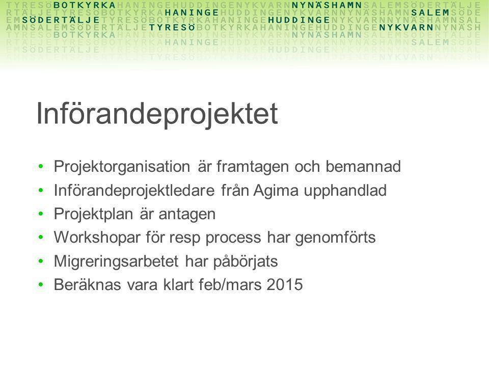 Införandeprojektet Projektorganisation är framtagen och bemannad Införandeprojektledare från Agima upphandlad Projektplan är antagen Workshopar för re