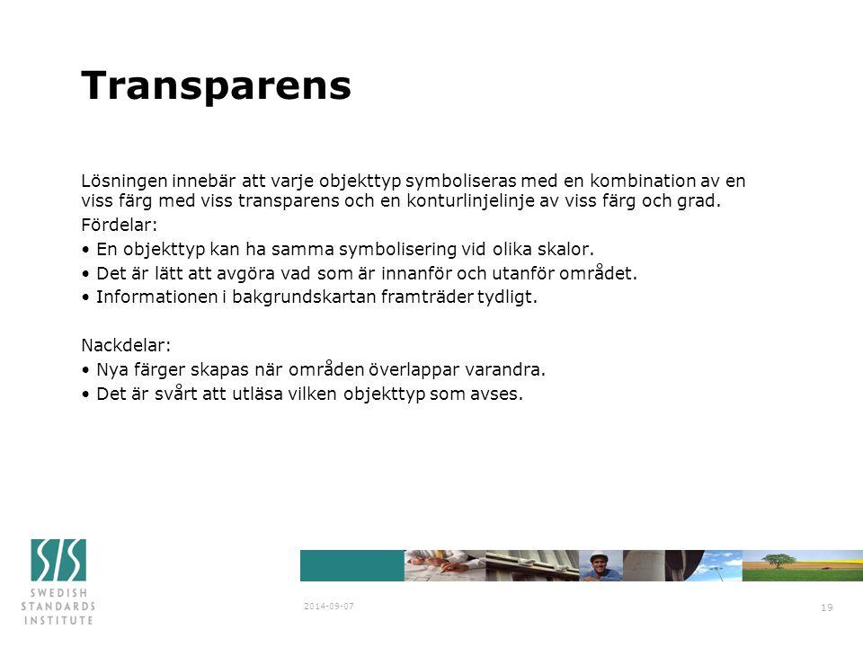 Transparens Lösningen innebär att varje objekttyp symboliseras med en kombination av en viss färg med viss transparens och en konturlinjelinje av viss