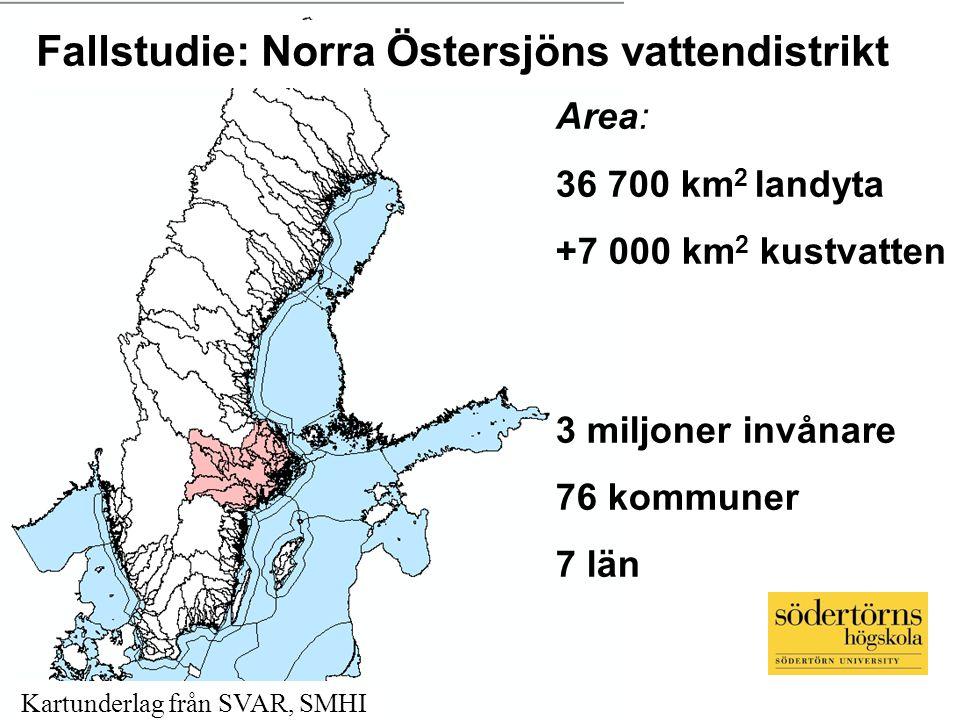Fallstudie: Norra Östersjöns vattendistrikt Area: 36 700 km 2 landyta +7 000 km 2 kustvatten 3 miljoner invånare 76 kommuner 7 län Kartunderlag från S