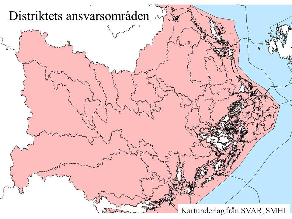 Distriktets ansvarsområden Kartunderlag från SVAR, SMHI