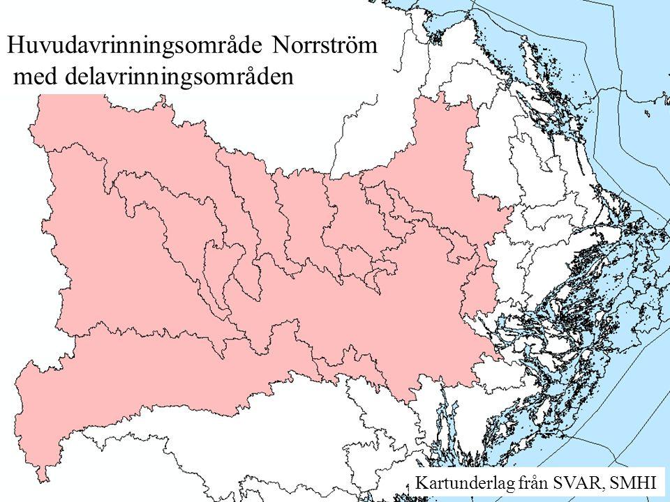 Huvudavrinningsområde Norrström med delavrinningsområden Kartunderlag från SVAR, SMHI