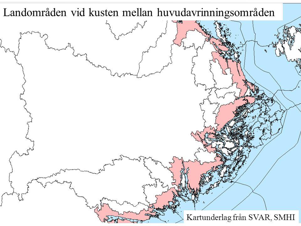 Landområden vid kusten mellan huvudavrinningsområden