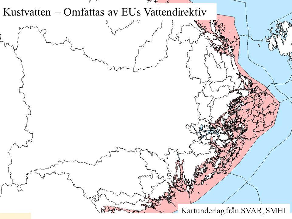 Kartunderlag från SVAR, SMHI Kustvatten – Omfattas av EUs Vattendirektiv