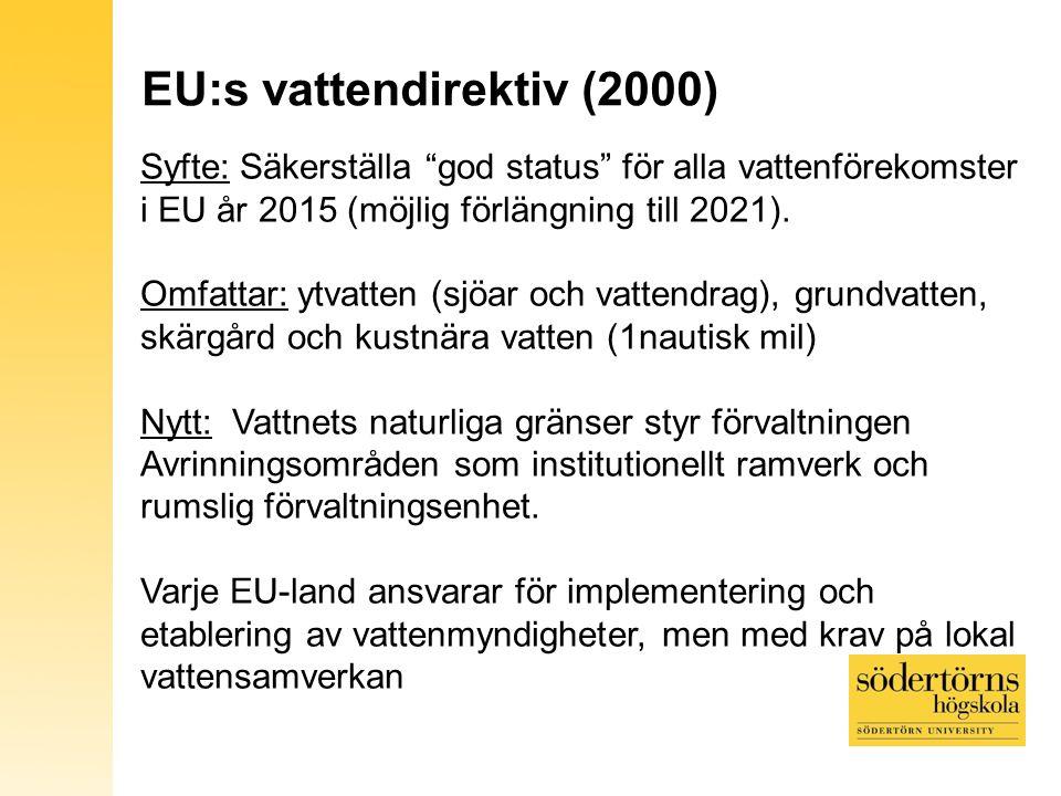 Vattendirektivet i Sverige Kartunderlag: UNEP, Grid Arendal och SVAR, SMHI 5 Vattendistrikt 5 nya regionala vattenmyndigheter, 1/distrikt (berörda län samverkar) Ny lokal vattensamverkan 1 vattenråd/huvudavr.område när direktivet är helt implementerat (länsstyrelser, kommuner och andra lokala aktörer)