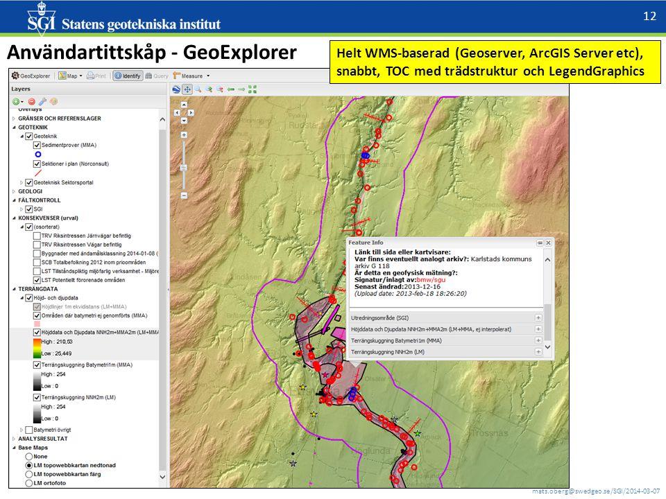 mats.oberg@swedgeo.se/SGI/2014-03-07 12 Användartittskåp - GeoExplorer Helt WMS-baserad (Geoserver, ArcGIS Server etc), snabbt, TOC med trädstruktur och LegendGraphics