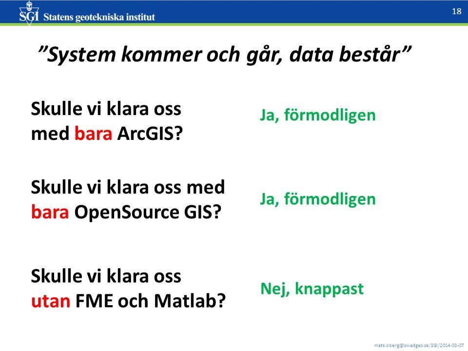 mats.oberg@swedgeo.se/SGI/2014-03-07 18 Skulle vi klara oss med bara ArcGIS.