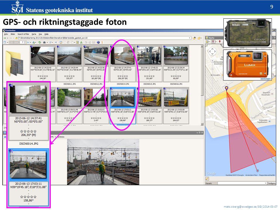 mats.oberg@swedgeo.se/SGI/2014-03-07 9 GPS- och riktningstaggade foton