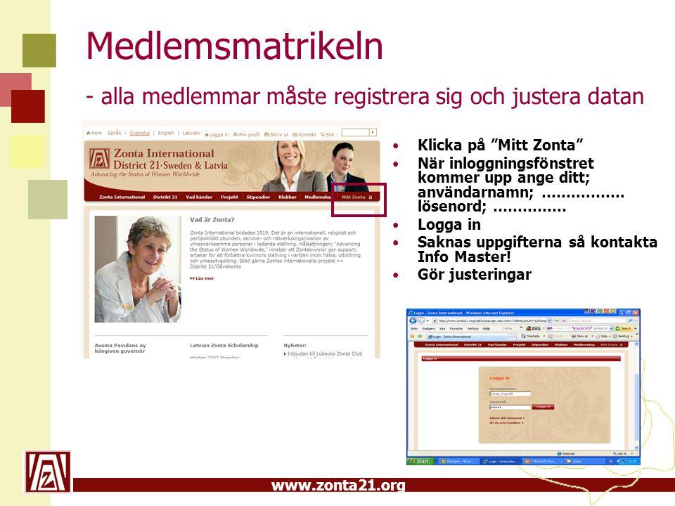 www.zonta21.org Medlemsmatrikeln - alla medlemmar måste registrera sig och justera datan Klicka på Mitt Zonta När inloggningsfönstret kommer upp ange ditt; användarnamn; ……....…….