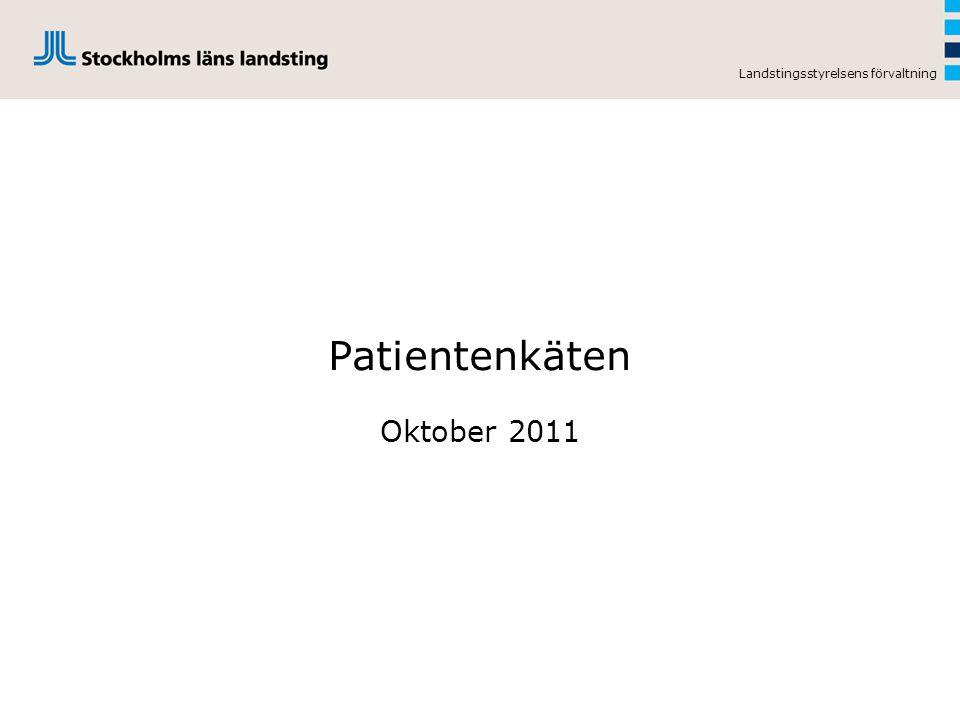Landstingsstyrelsens förvaltning Patientenkäten Oktober 2011