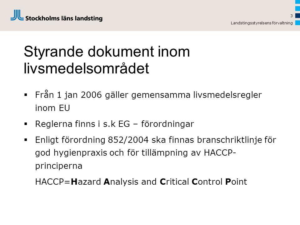Landstingsstyrelsens förvaltning Styrande dokument inom livsmedelsområdet  Från 1 jan 2006 gäller gemensamma livsmedelsregler inom EU  Reglerna finns i s.k EG – förordningar  Enligt förordning 852/2004 ska finnas branschriktlinje för god hygienpraxis och för tillämpning av HACCP- principerna HACCP=Hazard Analysis and Critical Control Point 3