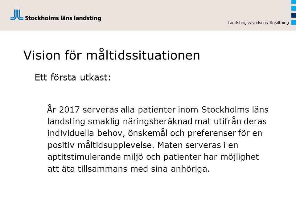 Landstingsstyrelsens förvaltning Vision för måltidssituationen Ett första utkast: År 2017 serveras alla patienter inom Stockholms läns landsting smaklig näringsberäknad mat utifrån deras individuella behov, önskemål och preferenser för en positiv måltidsupplevelse.