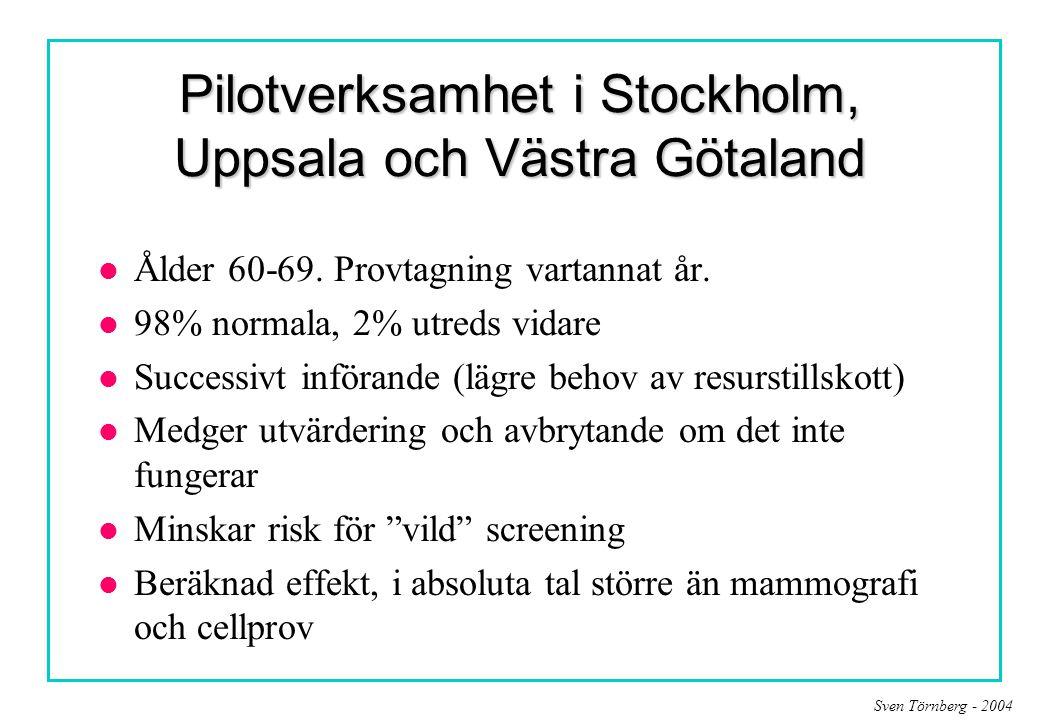 Sven Törnberg - 2004 Pilotverksamhet i Stockholm, Uppsala och Västra Götaland l Ålder 60-69. Provtagning vartannat år. l 98% normala, 2% utreds vidare
