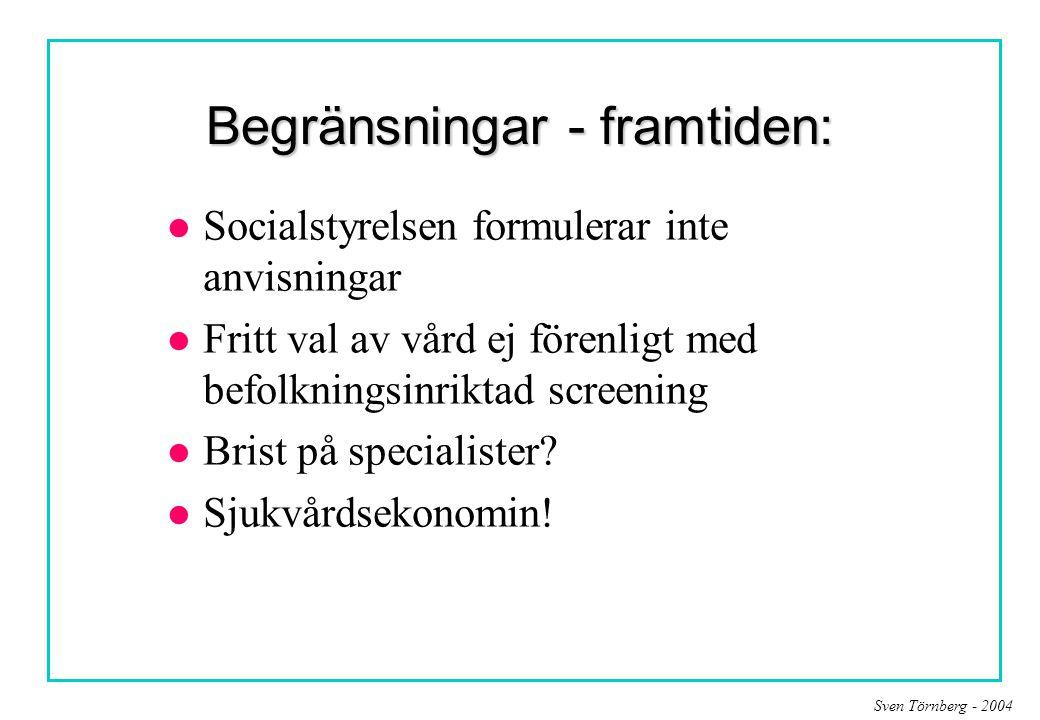 Sven Törnberg - 2004 Begränsningar - framtiden: l Socialstyrelsen formulerar inte anvisningar l Fritt val av vård ej förenligt med befolkningsinriktad