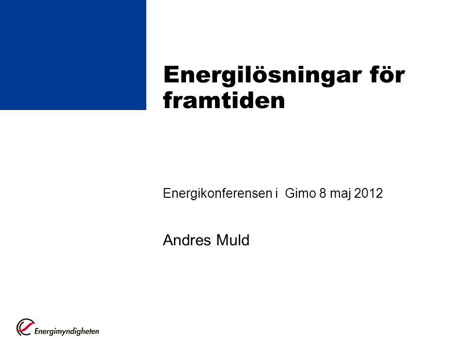 Energilösningar för framtiden Energikonferensen i Gimo 8 maj 2012 Andres Muld