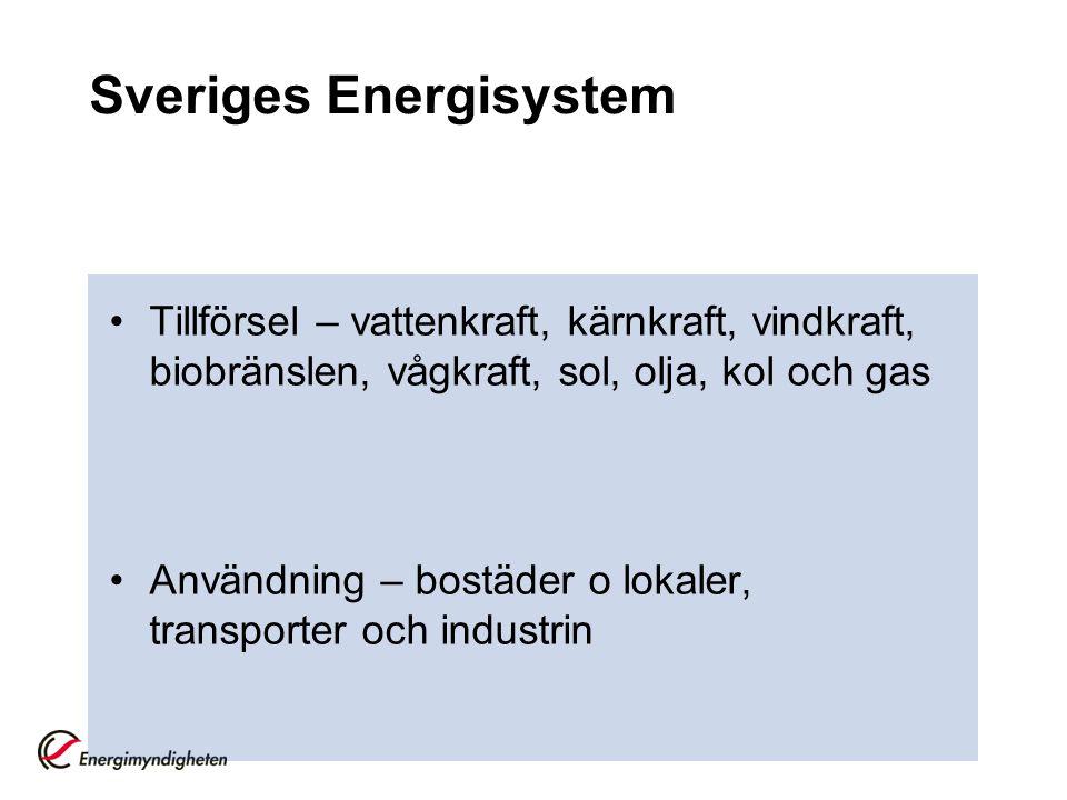 Sveriges Energisystem Tillförsel – vattenkraft, kärnkraft, vindkraft, biobränslen, vågkraft, sol, olja, kol och gas Användning – bostäder o lokaler, t