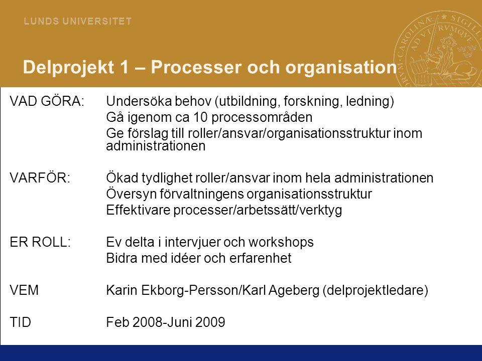 10 L U N D S U N I V E R S I T E T Delprojekt 1 – Processer och organisation VAD GÖRA:Undersöka behov (utbildning, forskning, ledning) Gå igenom ca 10